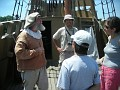 on the Mayflower II with a docent 'crew member'