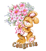 Congrats - BunnyWithFlowers