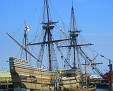 Mayflower II in center of Plymouth (reproduction build in England and sailed to Plymouth, MA)