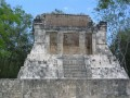 Where the King would have sat to watch the games in the Ball Court of Chichen Itza, Yucatan Peninsula, Mexico.