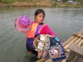 Pregnant Sales Girl wading in waste deep waters near Chiang Mai, Thailand,,,