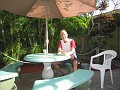 Breakfast time in the court yard at Floyd's Hostel in Ft. Lauderdale, Florida