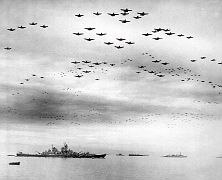 11 - Huge formation of American planes over USS Missouri