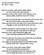 """""""Luther's Song"""" written by his nephew, Benjamin Snell Austin"""