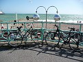 Bicycles against the railing with the Palace Pier in the distance, 2, JUL 2011