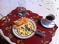 My First Breakfast at the HomeStay.  Eggs & Rolls / Black Coffee.