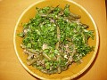 "green beans salad with nuts and ""kinza"""