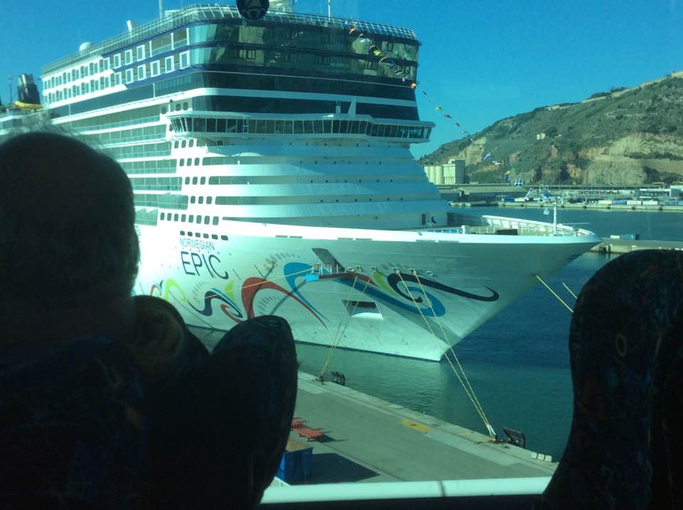 arriving at the ship in Barcelona, Spain