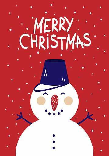 Cute Christmas card with a picture of a snowman in a Scandinavian style