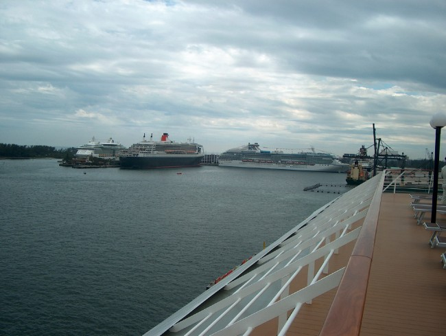 Queen Mary II in the distance